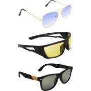 Zyaden Aviator, Wrap-around, Wayfarer Sunglasses(Blue, Yellow, Black)