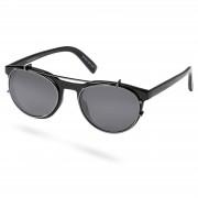 Waykins Walther Schwarze Brille Mit Transparenten Gläsern & Sonnenbrillenaufsatz