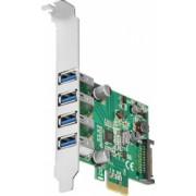 Card PCI-E x1 Axagon PCEU-43V adaptor la 4x USB 3.0 Type-A Include bracket Low Profile 1.5A Fast Charging