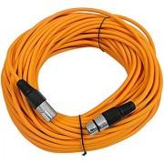 SEISMIC AUDIO - SAXLX-100 - 100' Orange XLR Male to XLR Female Microphone Cable - Balanced - 100 Foot Patch Cord