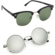 Elgator Round Sunglasses(Green, Silver)