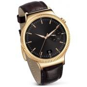 """Smartwatch Huawei Watch W1, Amoled 1.4"""", 512MB RAM, 4GB Flash, Bluetooth, Bratara piele 42mm, Carcasa din Otel Inoxidabil (Auriu/Maro)"""