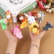 Kuhu Creations® Supreme 12 Pcs Animal Finger Puppets with Monkey & Tiger for Baby Story Telling.