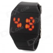Pantalla creativo plastico banda tactil Red Reloj LED - Negro (1 * CR2032)