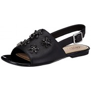 Clarks Women's Polenta Sugar Black Leather Fashion Sandals - 3.5 UK/India (36 EU)
