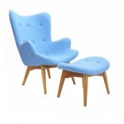 Design Town Fotel z podnóżkiem - inspirowany proj. Grant Featherston - błękitny