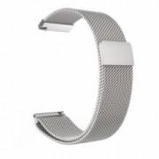 Curea din metal tip Milanese Loop compatibila Smartwatch 24mm Argintiu Telescoape QR