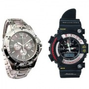 Rosra Round Dial Black & Silver Metal & PU Strap Quartz Watch for Men (Combo of 2)