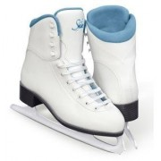 SoftSkate by Jackson GS181 Misses Ice Skates White with Coloured Lining Recreational Level Figure Skating (Blue, 11)