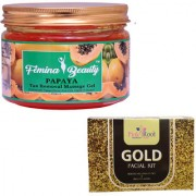 Femina Beauty Papaya Gel 400gm with Pink Root Gold Facial Kit 8gm