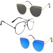 Sulit Aviator, Wayfarer, Cat-eye Sunglasses(Clear, Black, Blue)