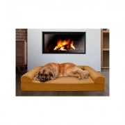 FurHaven Quilted Memory Top Bolster Cat & Dog Bed w/Removable Cover, Toasted Brown, Jumbo Plus