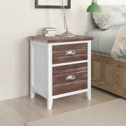 vidaXL Sängbord / Telefonbord med 2 lådor brun vit 2-pack