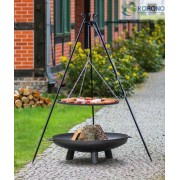 BBQ Schwenkgrill, mit Stahlrost 80 cm, Feuerschale 100 cm, und Dreibein Stativ 180 cm Hoch
