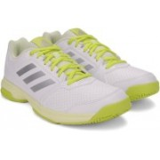 ADIDAS ADIZERO ATTACK W Tennis Shoes For Women(Silver, White, Yellow)