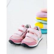 Sapatilhas com barras autoaderentes estilo running, para bebé menina rosa claro liso com motivo