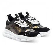 Versace Baroque Chain Reaction Sneakers Svart/Guld Barnskor 37 (UK 4)