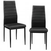 [en.casa]® Set de 2 sillas negras respaldo alto comedor silla tapizada cuero sintético