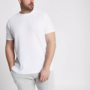 River Island Mens Big and Tall White waffle crew neck T-shirt