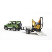 Bruder Land Rover Defender Rigid Drawbar Trailer JCB Micro Excavator and Construction Worker