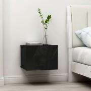 vidaXL Нощни шкафчета, 2 бр, черен гланц, 40x30x30 см, ПДЧ