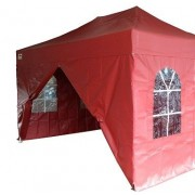 Partytent PVC Easy Up 2,4 x 2,4 meter HEX met zijwanden in Rood