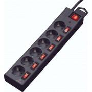 Prelungitor cu protecţie la supratensiune şi întrerupătoare individuale, 6 prize, 1,5 m, negru, Renkforce