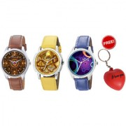 Combo of Jack Klein Stylish 3 Different Color Graphic Watches With Key Chain