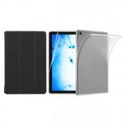 Set 3 in 1 husa carte, husa silicon si folie protectie ecran pentru Huawei MediaPad M5 Lite 10.1 inch, negru