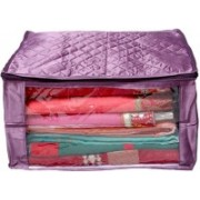 Shivanshshine Designer Large Quilted Satin 12 inch Garment Cover and Saree Cover(Purple)