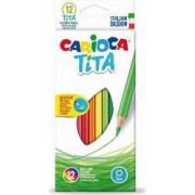 Creioane colorate CARIOCA Tita hexagonale 12 culori-cutie