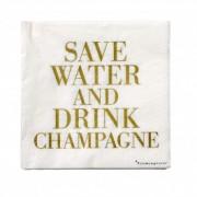 """Pachet Servetele """" Save water... """" Alb/Auriu, l33xL33 cm, 20 buc/pachet"""