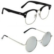 Tazzx Clubmaster, Round Sunglasses(Clear, Silver)
