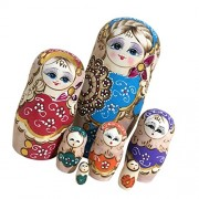 Set of 7 Pieces Wooden Russian Nesting Dolls - Matryoshka Stacking Nested Wood Dolls