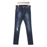 【67%OFF】ダメージ ペイント加工 スリムフィット デニム デニム 32 ファッション > メンズウエア~~パンツ