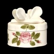 V.K.44-15 Romantik rózsás doboz ovál, kerámia, kézzel festett