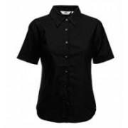 Lady-Fit Short Sleeve Oxford Shirt Black