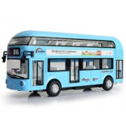 Imported & new Double Decker Bus Light & Music Open Door Design Metal Bus For Londoners Toy (Blue)