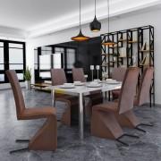 vidaXL Cantilever eetkamerstoelen 6 stuks stof bruin